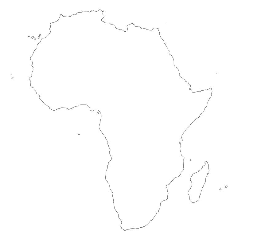 mapa continente africano blanco