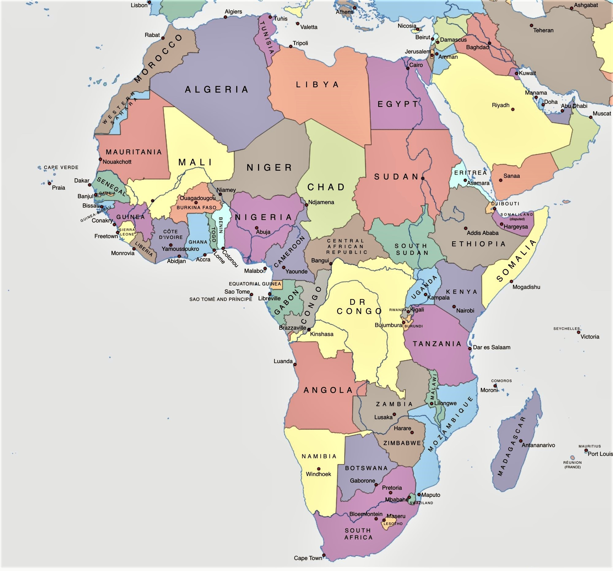 mapa politico africa con nombres