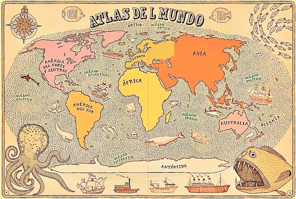 mapa mundi politico continentes