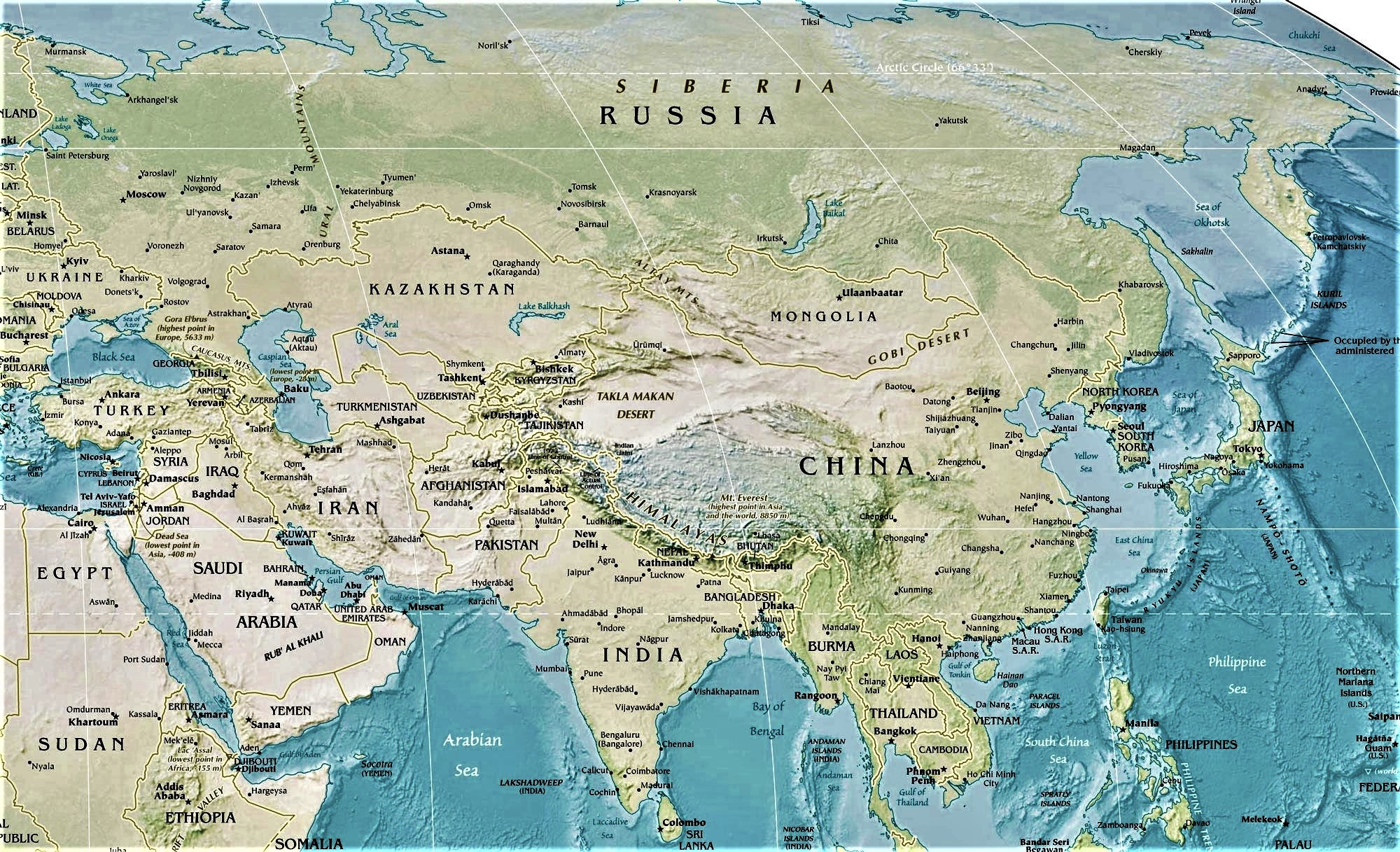 mapa de asia fisico politico