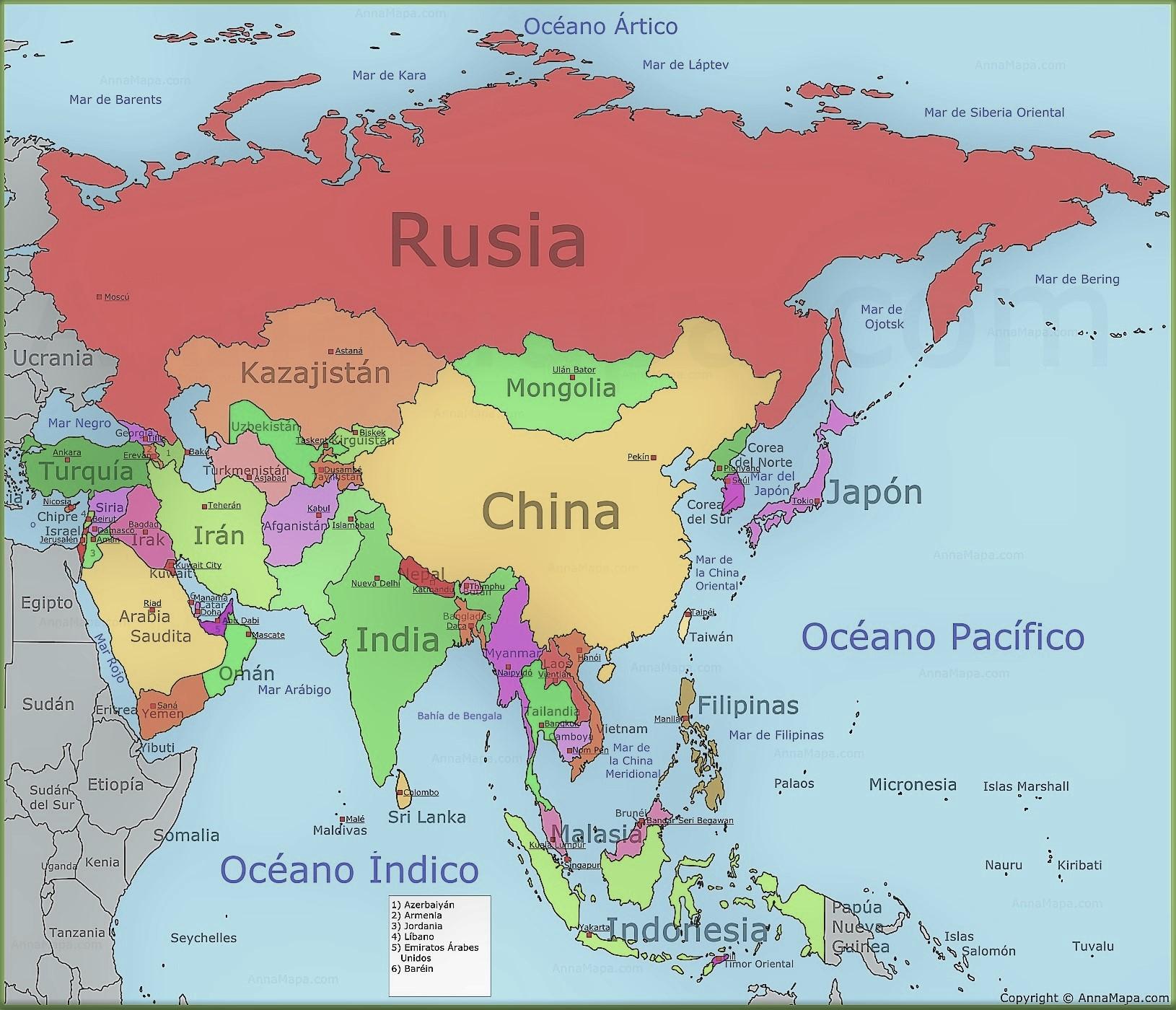 mapa asia nombres paises capitales
